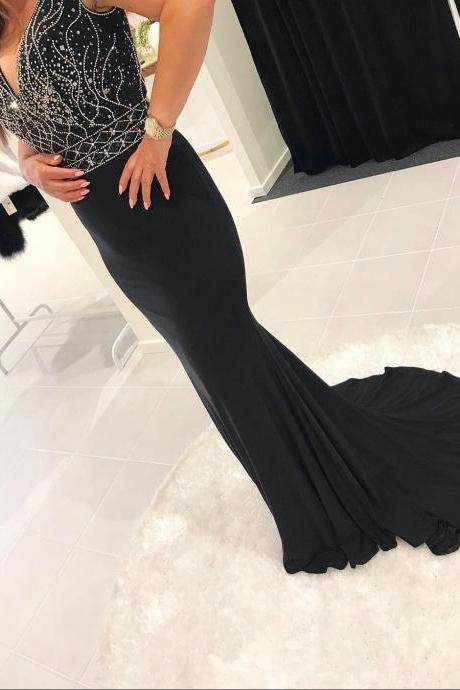 Cheap prom dresses 2017,Stunning Mermaid Evening Dresses Long 2017 Hot V neck Elegant Women