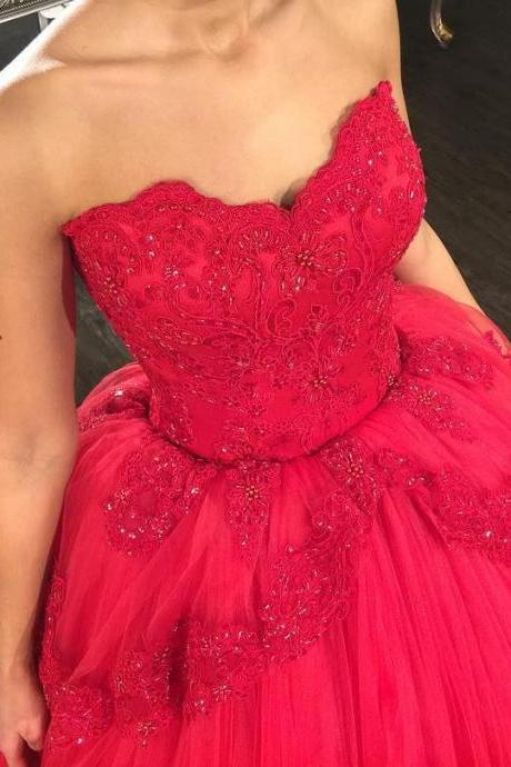 Red Wedding Dress 2017 Stunning Lace Appliques Bridal