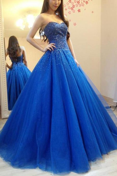 Cheap prom dresses 2017,Sparkly Heavy Beaded Sequins Blue Prom Dresses Sexy Long Evening Dress