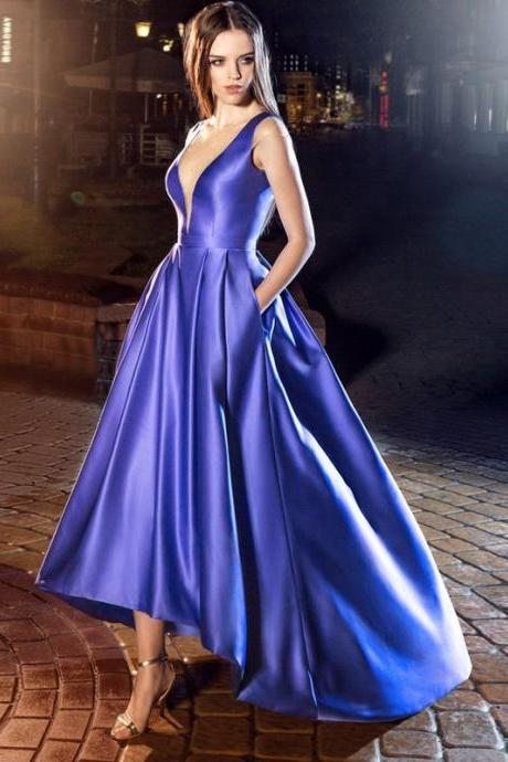 Cheap prom dresses 2017,Fashion Sexy Beaded High Low Evening Dress Royal Blue Evening Dresses 2017