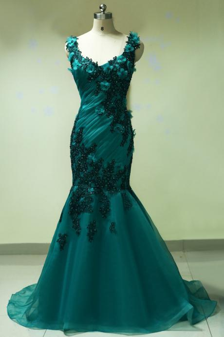 Sleeveless Floral Appliqués Ruched Mermaid Long Prom Dress, Evening Dress