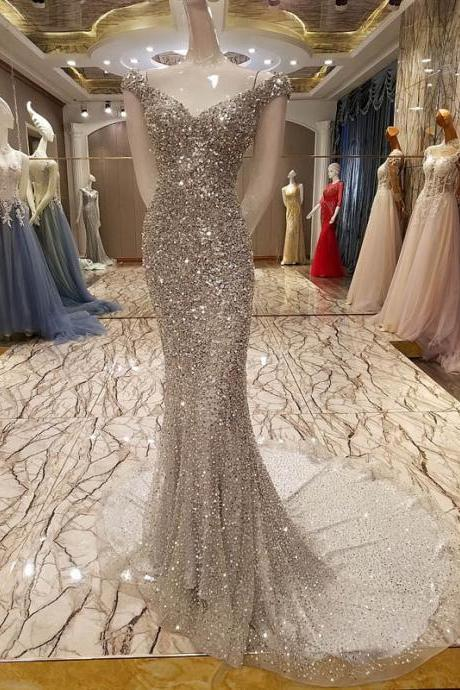 Cheap prom dresses 2017,New Arrival luxury Scalloped Neck Floor-Length Gray Prom Dress