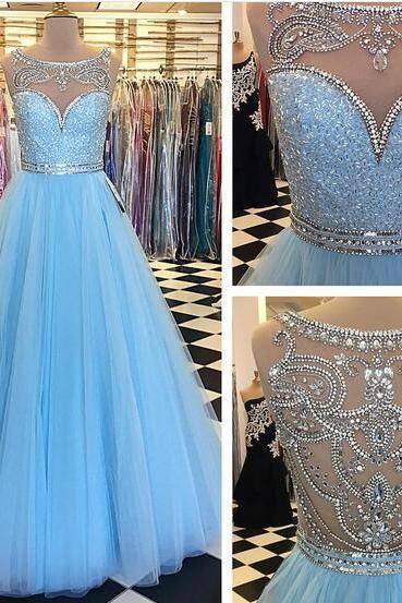 Cheap prom dresses 2017,2017 Baby Blue Ball Gown Tulle Prom Dresses Crew Neck Beading