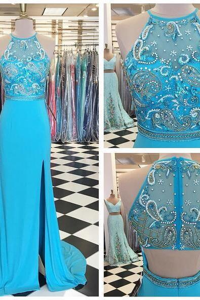 2017 Baby Blue Mermaid Prom Dresses Crew Neck Beading Crystals Side Slit Evening Dress