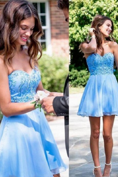 Cheap homecoming dresses 2017,Blue Chiffon Appliques Short A-Line Homecoming Dresses ,