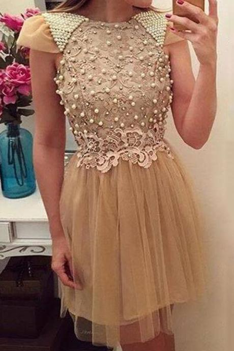 Cheap homecoming dresses 2017,High Fashion A-Line Jewel Cap Sleeves Short Homecoming Dress With Beading Lace