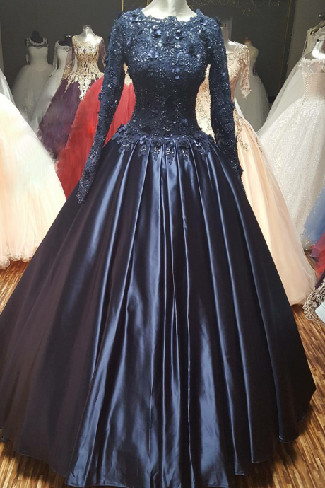 Cheap prom dresses 2017,Navy Blue Ball Gown Prom Dress with Long Sleeves 2017