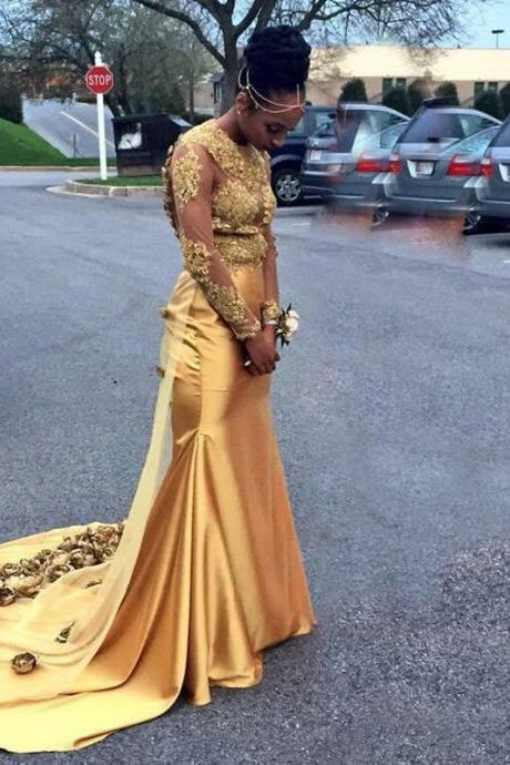 Cheap prom dresses 2017,2017 Sexy Gold Mermaid Prom Dresses with Golden Flowers Sheer Long Sleeves