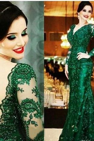 Cheap prom dresses 2017,Vintage 2017 Dark Green Full Lace Mermaid Evening Dresses