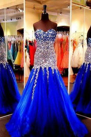Cheap prom dresses 2017,Royal Blue Prom Dresses Party Evening Gowns 2017
