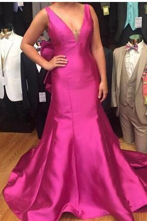 Cheap prom dresses 2017,Fushia Backless Satin Evening Dresses 2017