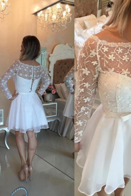 Lace Homecoming Dresses,Beautiful White Lace Short Homecoming Dress Long Sleeve Cocktail Party Prom Gown