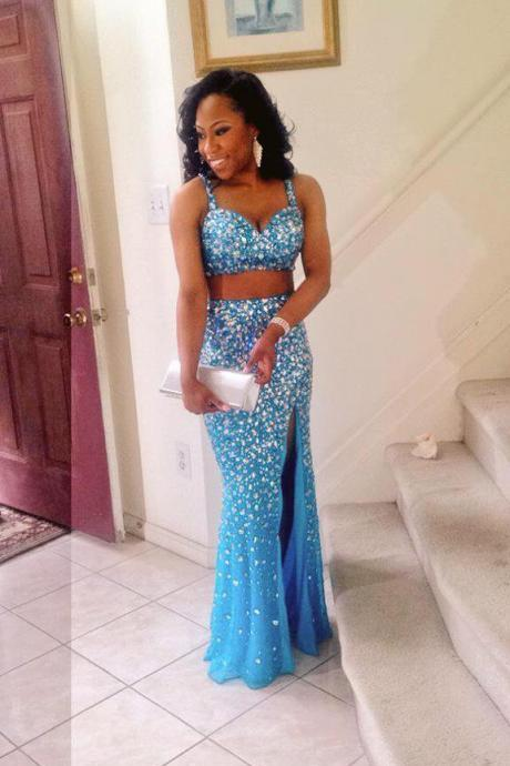 Cheap prom dresses 2017,Sexy Prom Dresses Cheap Mermaid Two Pieces Beads Backless