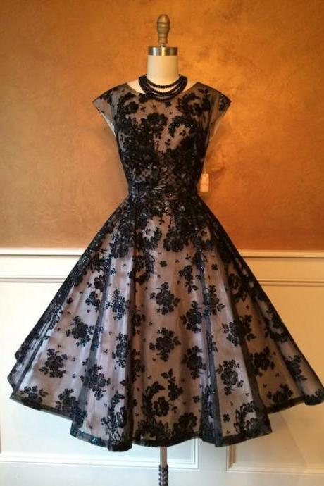 Vintage Prom Dress,Lace Homecoming Dresses, Lace Prom Gowns, Mini Short Homecoming Dress