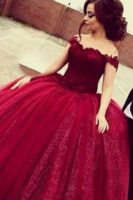 Cheap prom dresses 2017,Glamorous Off Shoulder Floor-Length Sequins Wine Prom Dress with Lace Top