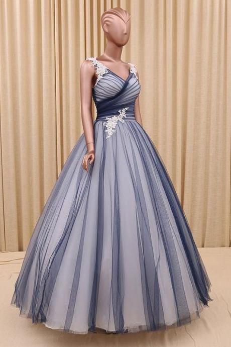 Cheap prom dresses 2017,Navy blue princess tulle ball gown formal evening dress