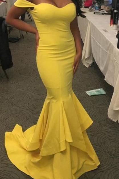 Sexy Prom Dress, Yellow Prom Dresses,Vintage Mermaid Off-Shoulder