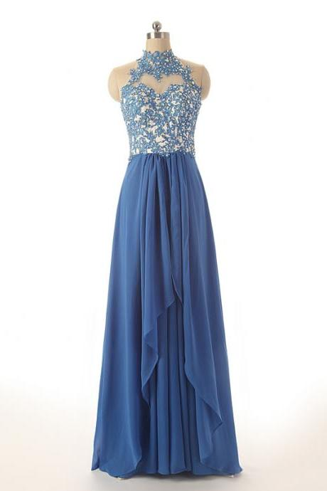 Cheap prom dresses 2017,Sexy High Neck Long Prom Dresses,Appliqued Chiffon Formal Dresses