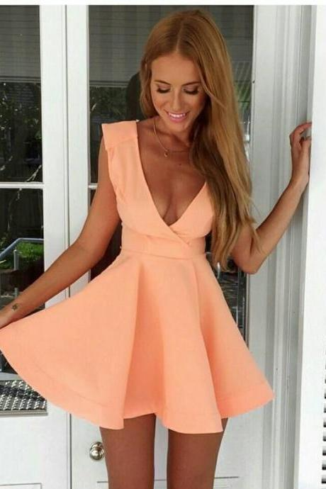 Cheap homecoming dresses 2017,Cute A-Line deep V-neck short prom dress