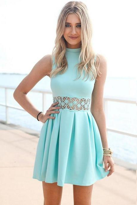 Cheap homecoming dresses 2017,High Neck Homecoming Dresses,Lace Blue A-Line Spandex Homecoming Dress