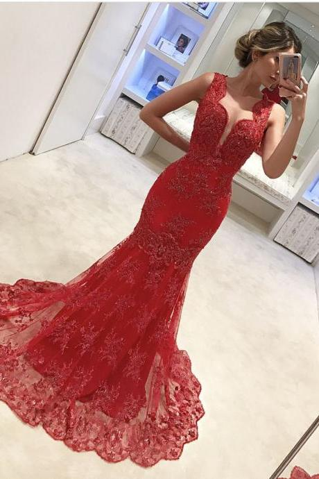 Cheap prom dresses 2017,Red Evening Dress, Mermaid Evening Dress, Lace Applique Evening Dress