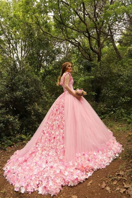 Court Train Pink Bridal Dresses,Ball Gowns Prom Dresses