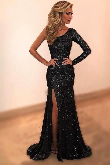 Cheap prom dresses 2017,Black Evening Dresses,One Shoulder Beads and Crystal Evening Party Dress