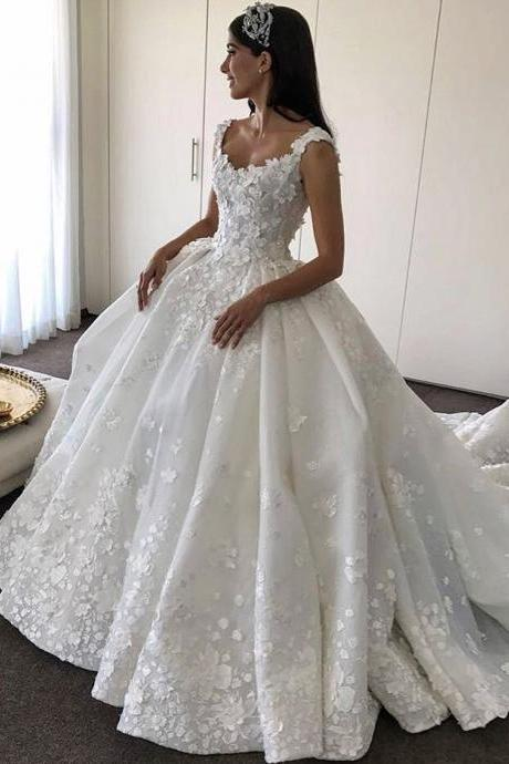Bridal Dresses 2017 ,Lace Flowers Appliques Wedding Dresses,Ball Gowns Bridal Dresses