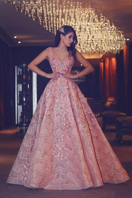 Luxury Evening Gown Flowers Puffy Pink V-Neck Beading Lace Evening Gowns
