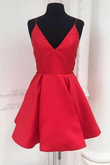 Short Red Homecoming Dress,Open Back Homecoming Dresses, Straps Short Red Party Dress