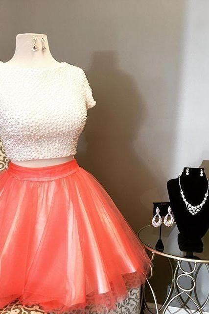 2017 Short Two Piece Homecoming Dresses, White and Orange Homecoming Dress