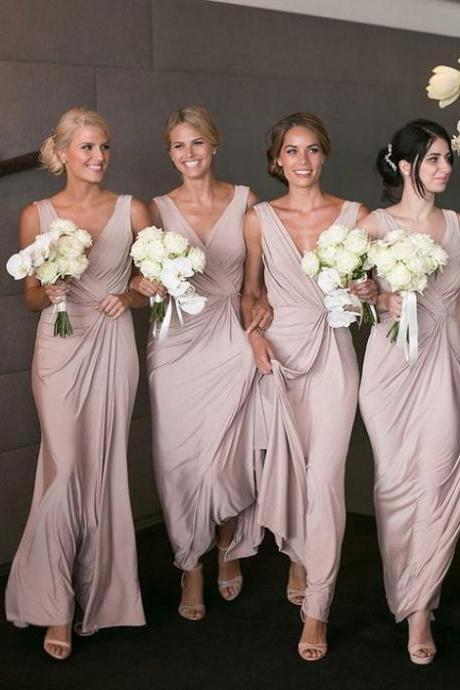 2017 Custom Made Chiffon Bridesmaid Dress,V-Neck Bridesmaid Dress