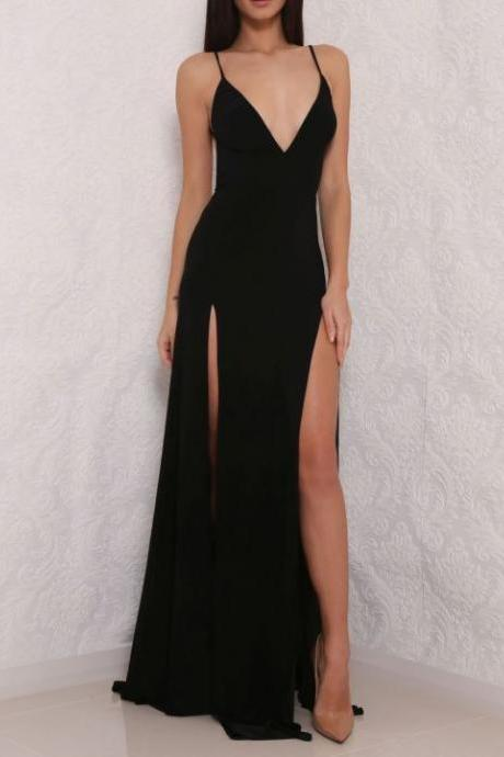 Black Plunge V Spaghetti Strap Maxi Dress Featuring Slits, Formal Dress