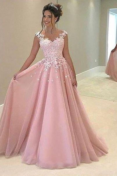 2017 prom dresses,pink prom dresses,lace pink prom party dresses