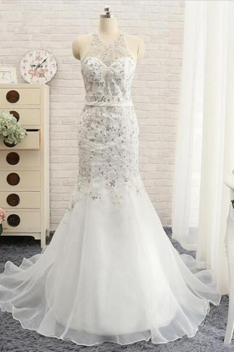 Halter Neck Mermaid Wedding Dress featuring Sequin
