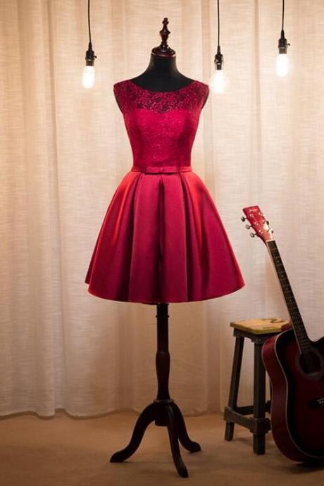 Burgundy Scoop Neck A-line Satin Short Prom Dress with Bowknot Belt
