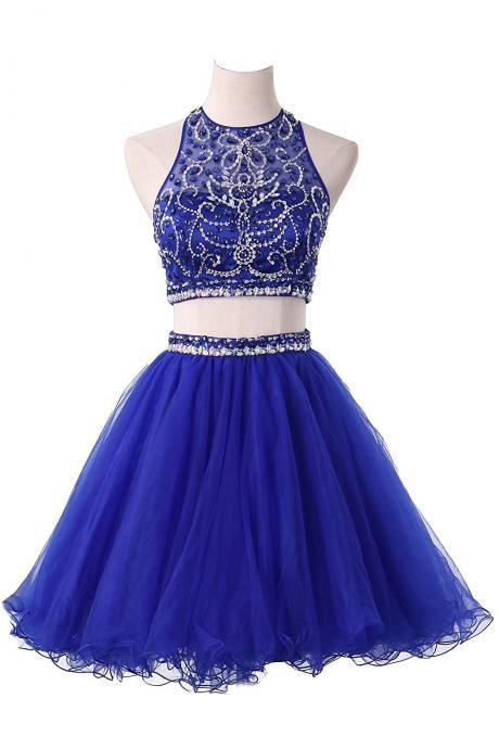 Two Piece Homecoming Dresses Halter Beaded Bodice Short Prom Dresses