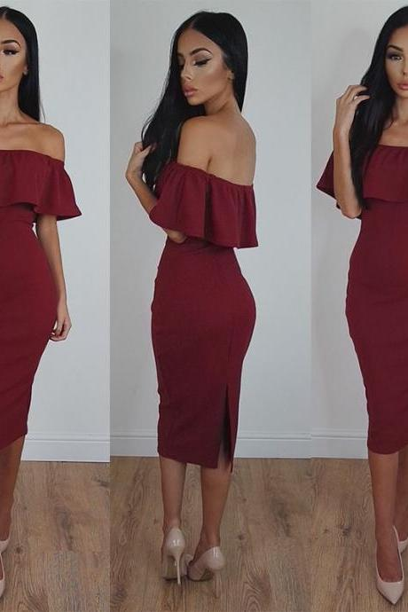 Off-Shoulder Sexy Tea-Length Burgundy Bodycon Prom Dress