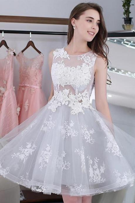 Lace Short Homecoming Dresses,A-line Lace Appliques Tulle Party Dresses