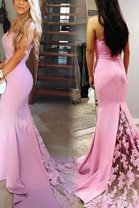 Spaghetti Strap Lace Evening Dress Mermaid Open Back Prom Dress