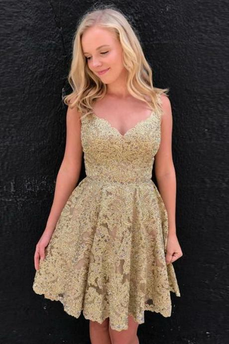 Lace Homecoming Dresses,Gold 2017 Backless Short Lace Homecoming Dress