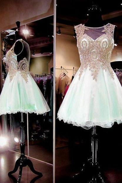 Lace Homecoming Dresses,Popular Homecoming Dresses,Ming Green Homecoming Dress Cheap