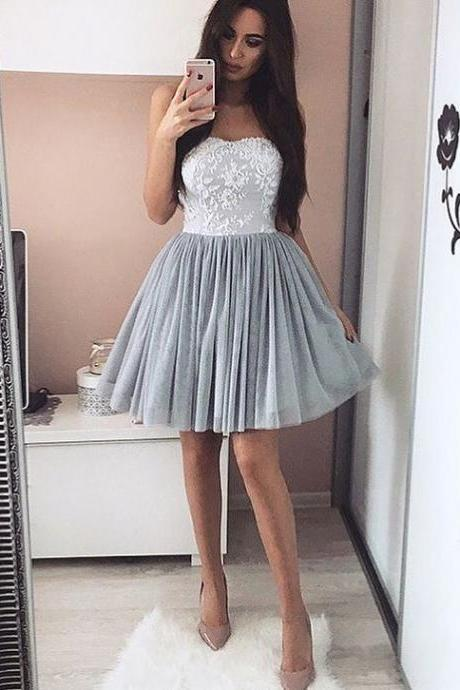 sweetheart homecoming dresses Tulle Prom Short Dresses,Prom Dresses Lace Appliques,Strapless Cocktail Dresses