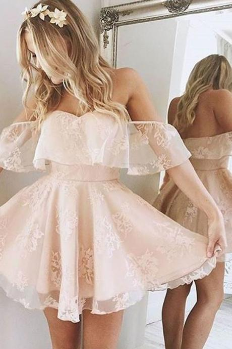 Pink Lace Princess Off The Shoulder Homecoming Dress