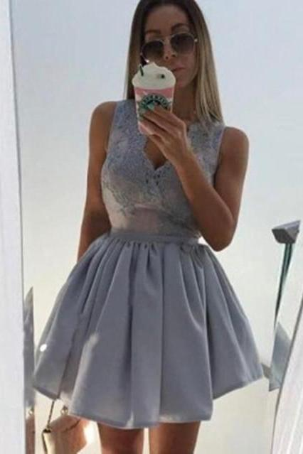Grey V Neck Short Satin Homecoming Dresses