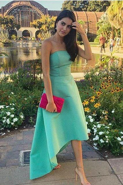 Strapless Prom Dress Satin Green Prom Dress