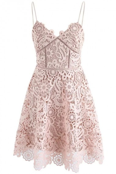 Lace Spaghetti Straps Above-Knee Pink Lace Homecoming Dress