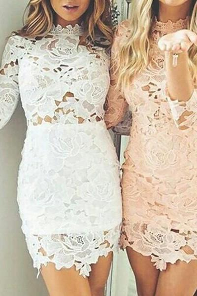 Tight Scalloped-Edge Cheap Pink Short Lace Homecoming Dress with Sleeves