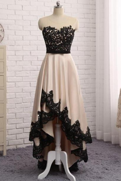 Black Sweetheart Neckline Lace Applique High Low Hem Bridesmaid Dress