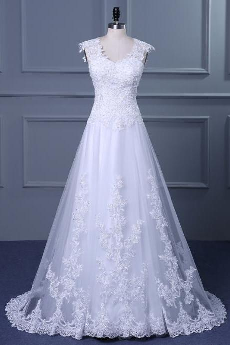 Cheap White Lace Applique Wedding Dress with V-neck and Court Train